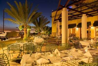 The outdoor dining at Royal Yacht Club Bar in Aqaba