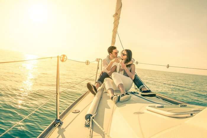 A couple on an island hopping cruise tour in the Caribbean