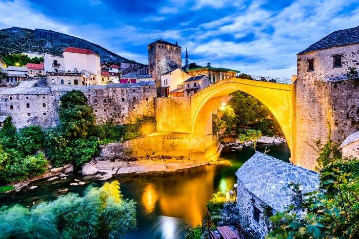 A snap of the Stari Most bridge in the old town of Mostar in Bosina and Herzogovina