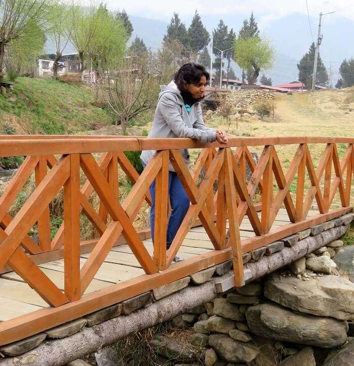 monali on suspension bridge