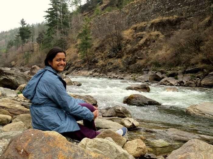 monali's friend at bhutan river