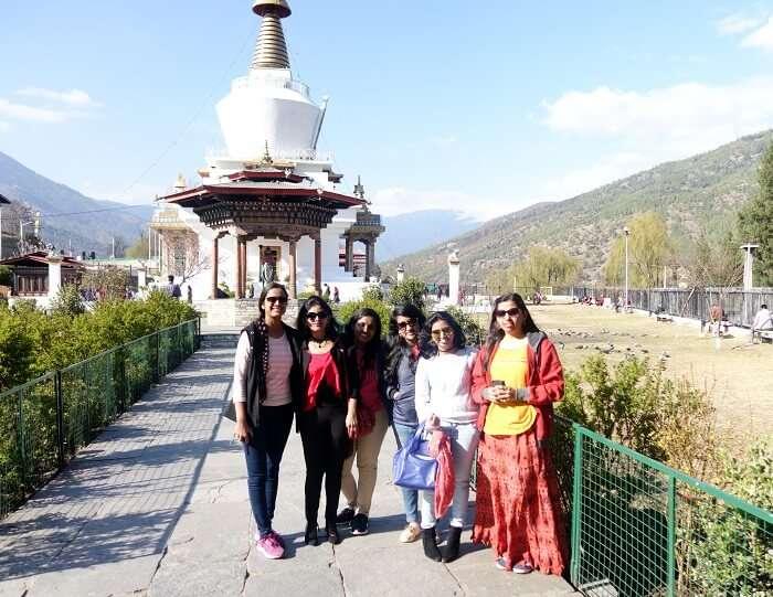 monali and friends in bhutan temple