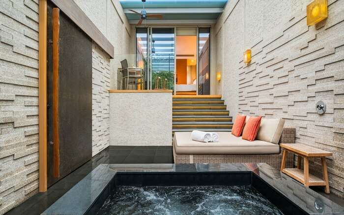 A hot swimming pool inside hotel room in Singapore