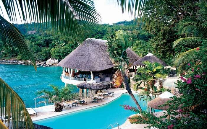 A shack style restaurant by the sea in Seychelles