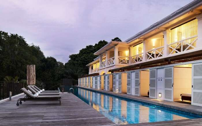 An outdoor pool in a heritage resort of Singapore