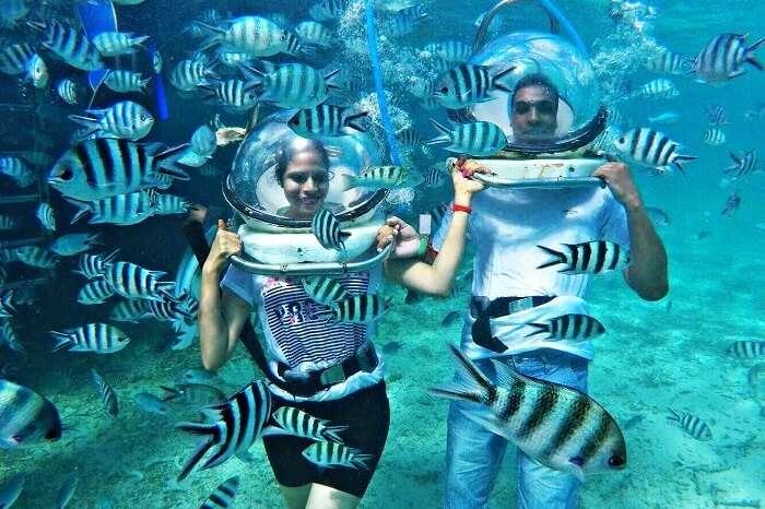 Underwater sea walk in Mauritius