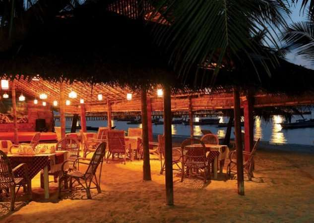 A well lit resort in Lakshadweep