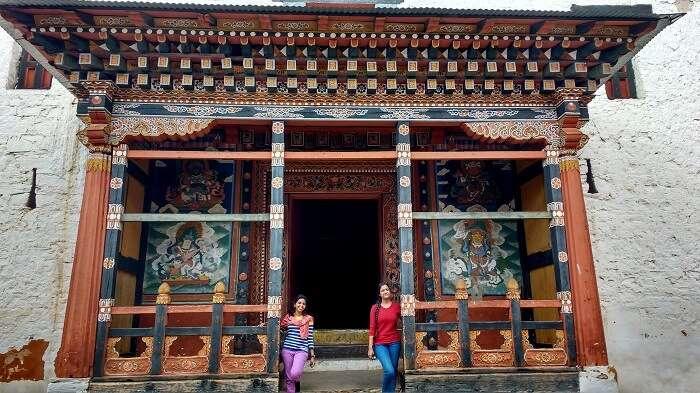 monali and friends at bhutan monastery