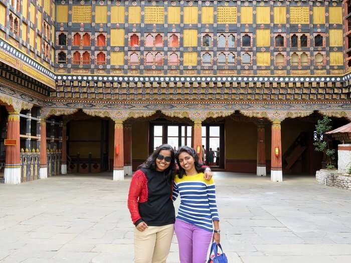 monali and friends at bhutan's monastery