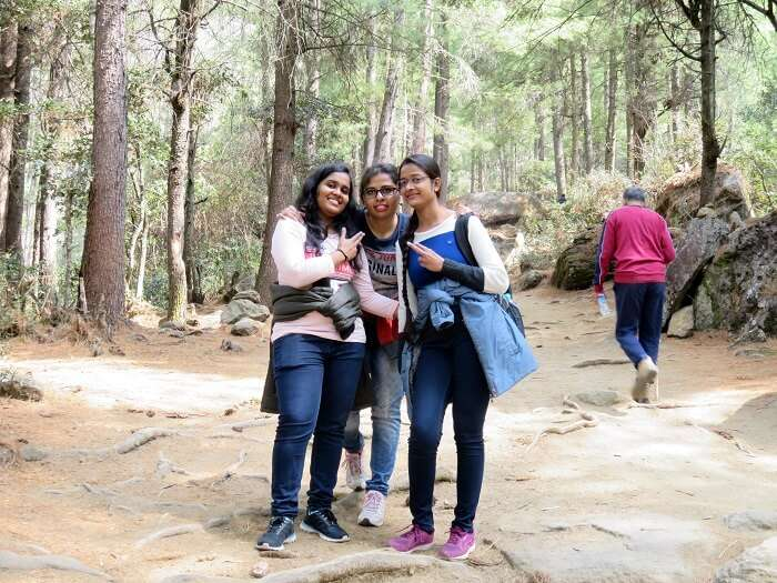 monali and friend trekking bhutan