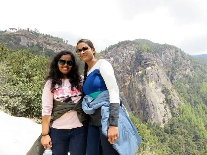 monali and friend trekking in bhutan