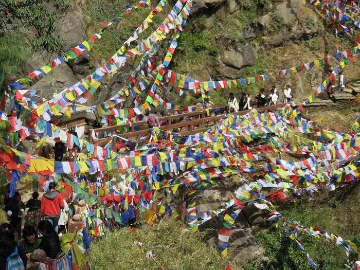prayer flags tiger nest