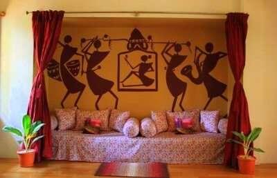 beautiful art on a wall of a homestay