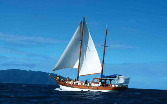 Tourists taking a romantic cruise ride of the islands in Madagascar