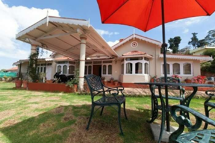 Open air seating area of Bouganvilla in Ooty
