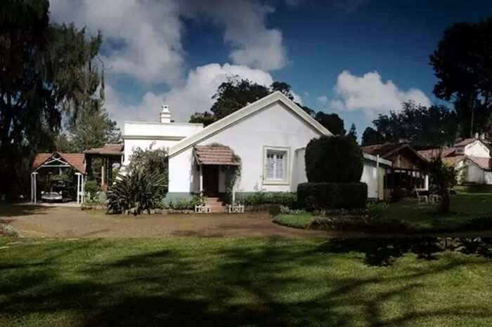 Beautiful front view of Lymond House in Ooty on a cloudy day