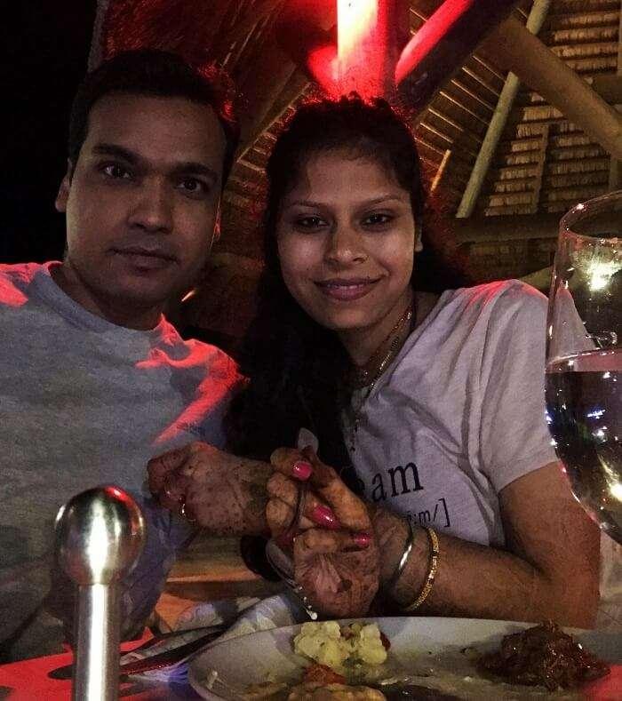 Couple enjoys romantic dinner