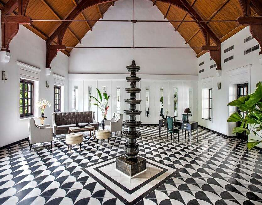 a traditional style hotel room in Kerala