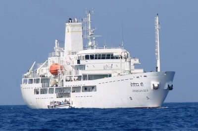 A snap of the Arabian Sea Ship that cruises to Lakshadweep from Kochi
