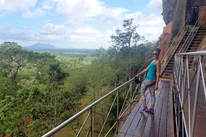 going up the sigiriya rock fortress