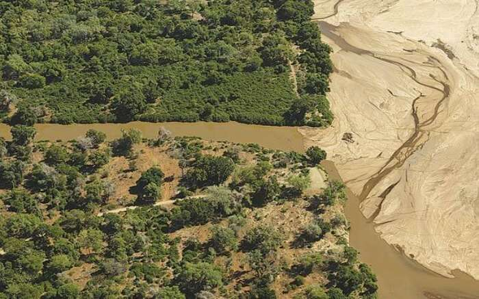 Aerial view of Crooks Corner Viewpoint in Kruger National Park
