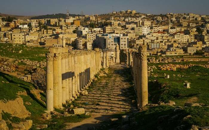 Ancient Jerash and modern Jerash in one picture
