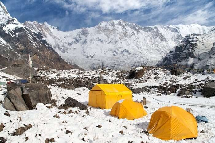 camping in snow during Annapurna Base Camp Trek