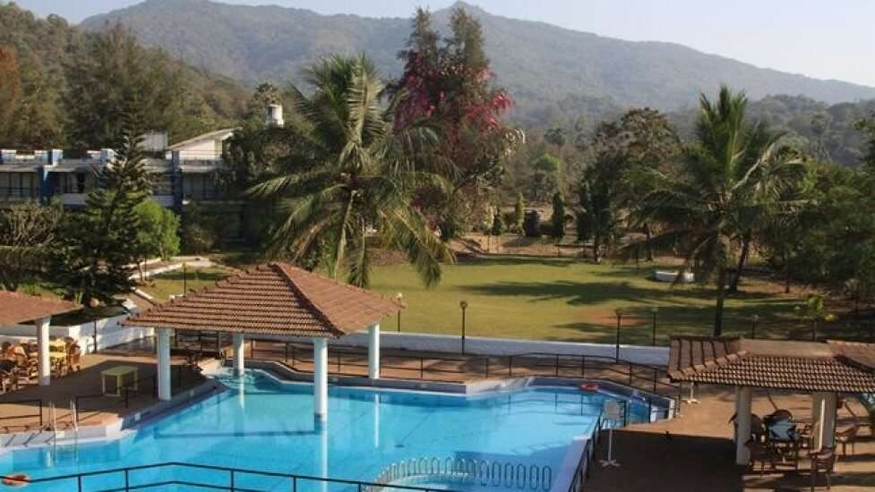 a large blue outdoor pool in a resort surrounded by pal trees