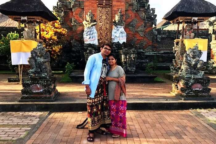 Couple on a Bali honeymoon