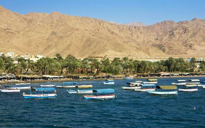 Glass boats over Aqaba in Jordan