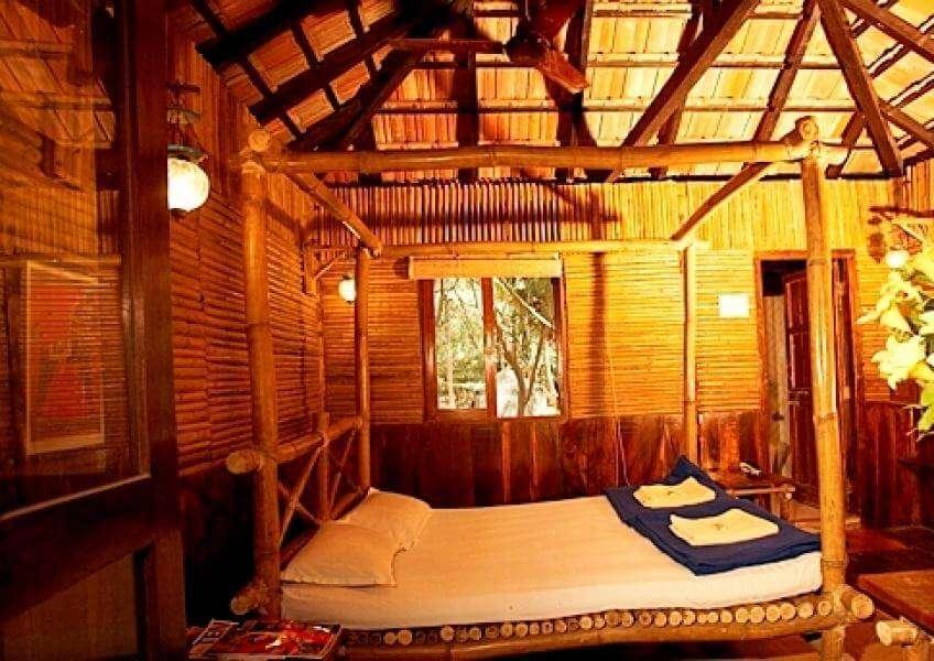 a bamboo made hut in a resort