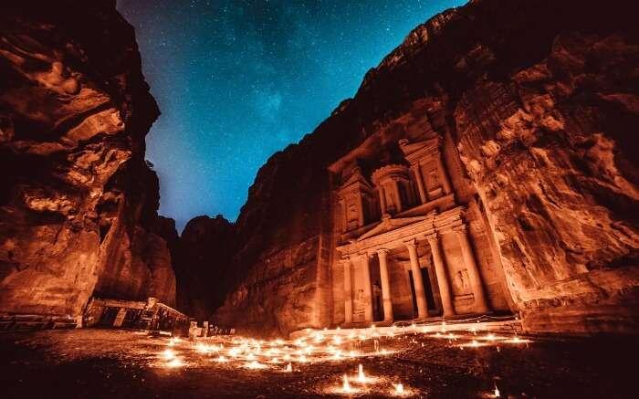 Petra in Jordan during evening