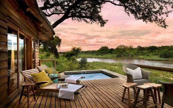 Pool and relaxing area at Lion Sands Narina Lodge in Kruger National Park in South Africa