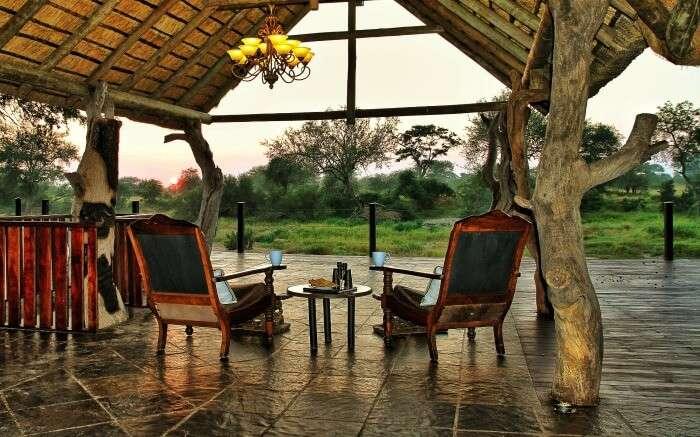 Seating area of Kambaku River Sands lodge in Kruger National Park South Africa