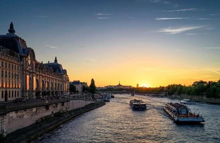 Sunset France City Paris Seine River