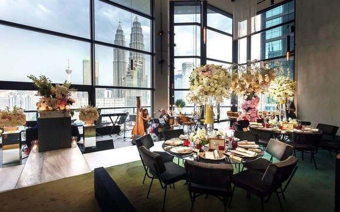 View of petronas from a lavish dining setting