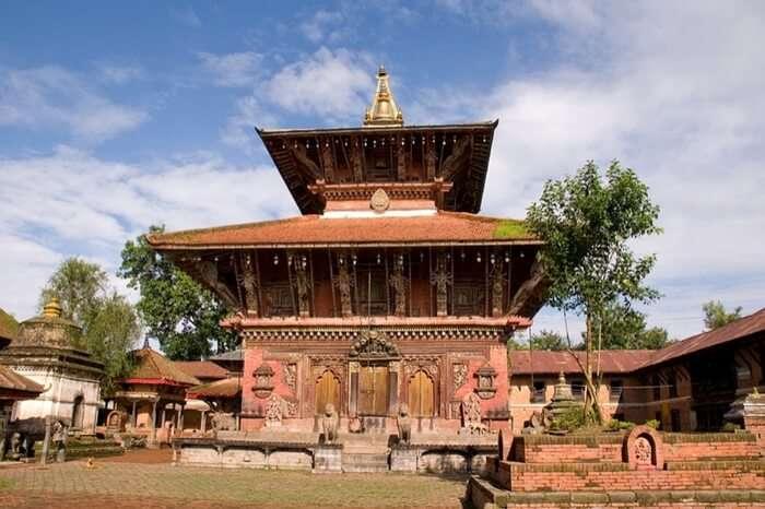 A pagoda style temple with a vast verandah