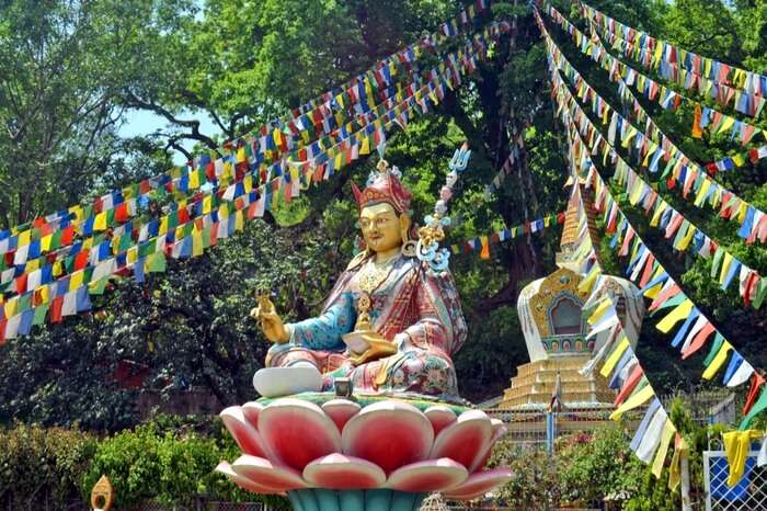 A colourful statue of a deity in a Nepal temple