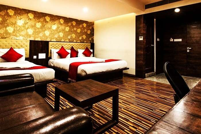 The interiors of a room at the Hotel Geo Grande in Coimbatore