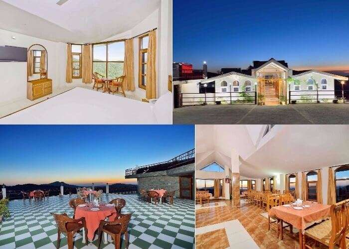 A collage of the various shots of Hotel Grand Sunset in Chail