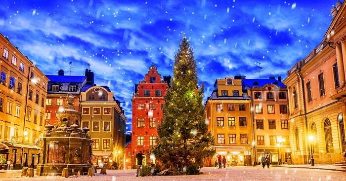 Stortorget square decorated during Christmas time at night in the city of Stockholm