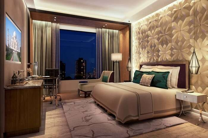The interiors of a standard room at the Radisson Blu hotel in coimbatore