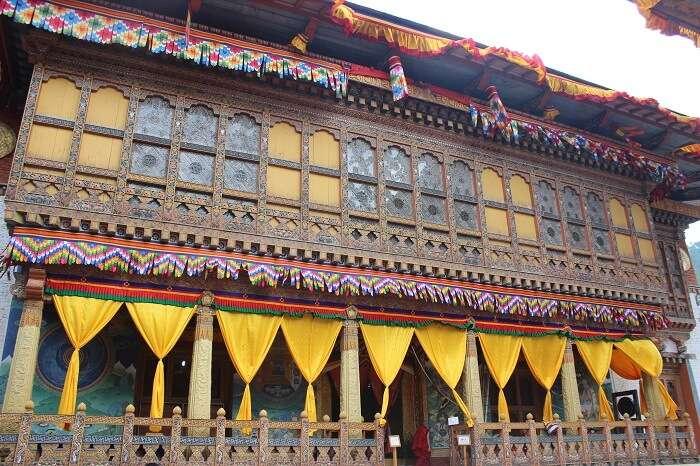 temple inside punakha dzong in bhutan
