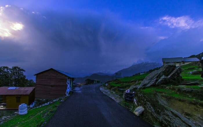 A road near Chopta base camp in Uttarakhand