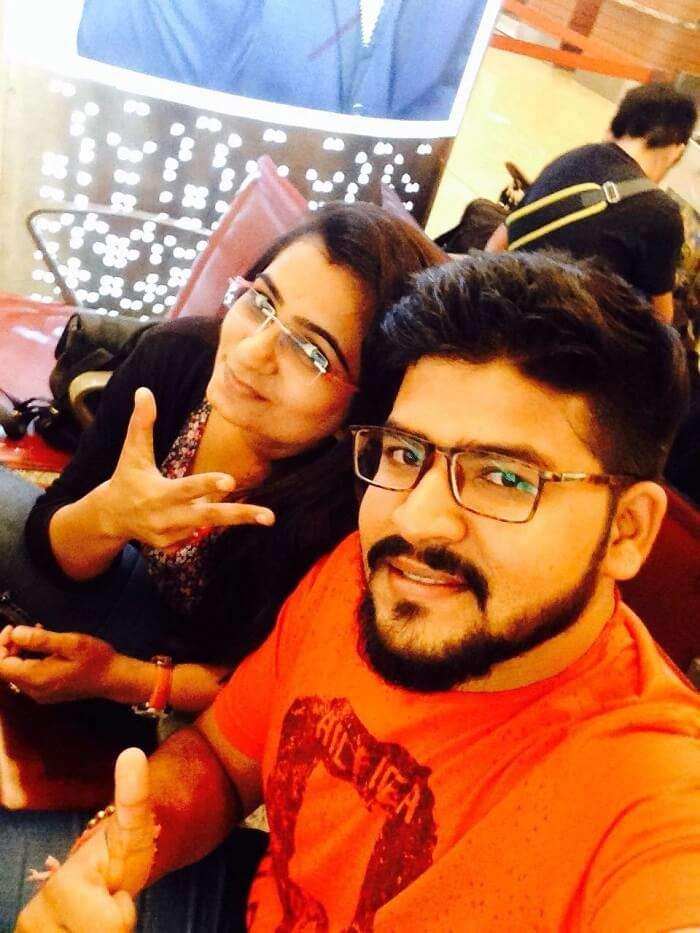 nirav and wife in bali at airport
