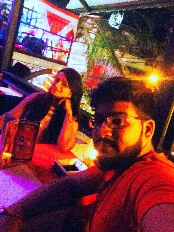 nirav & wife at rock bar in bali