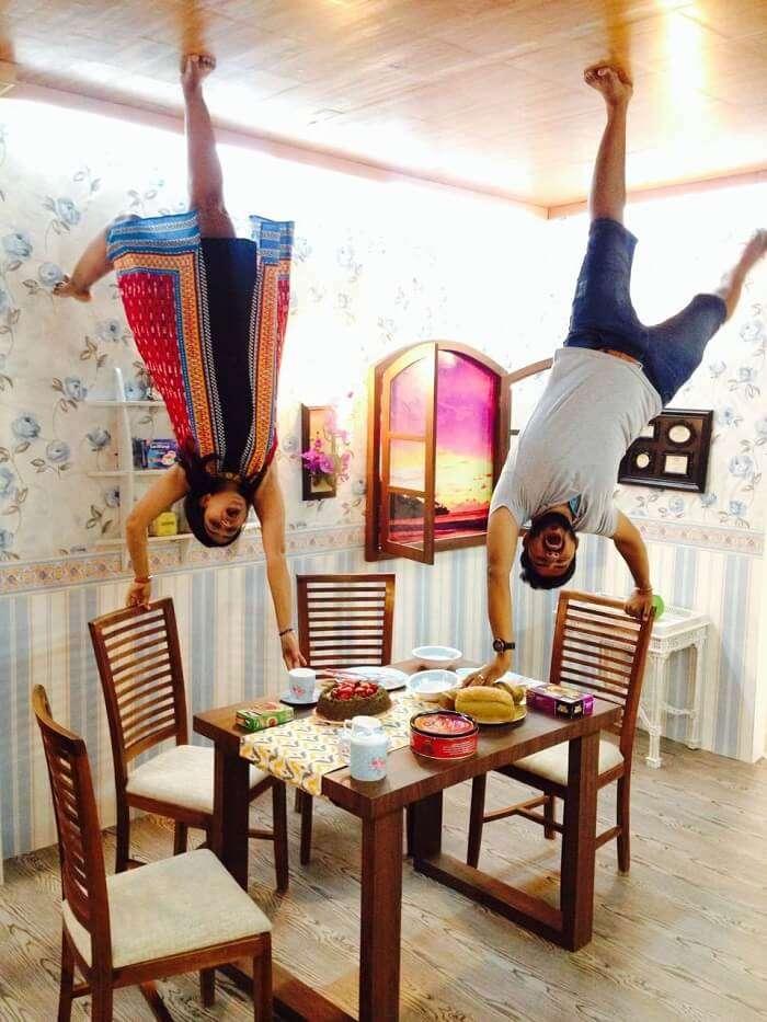 nirav & his wife enjoying at Upside Down museum in Bali