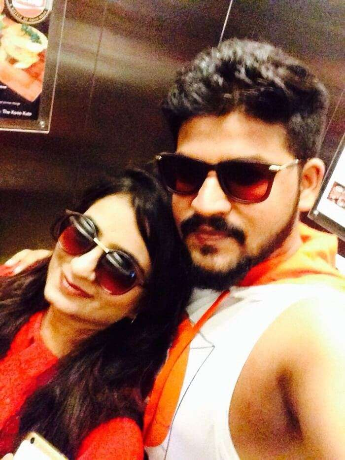 nirav and wife in bali inside hotel lift