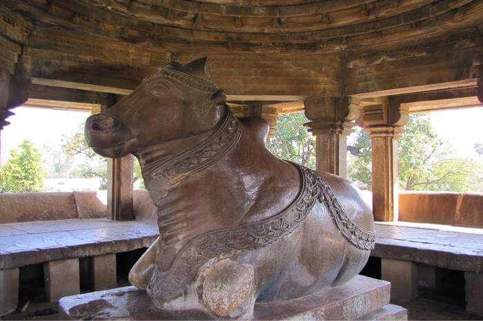 Nandi bull idol in a temple in Khajuraho