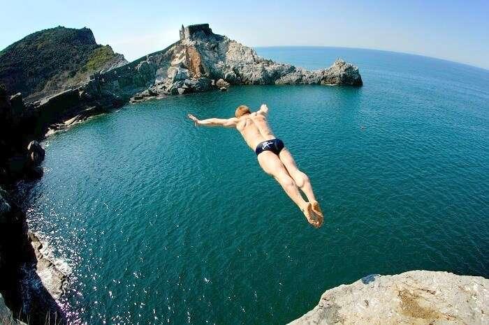 cliff jumping adventure